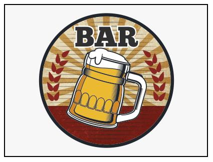 Banderola luminosa redonda presideñada bar