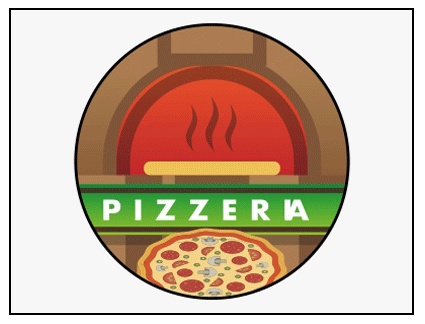 Banderola luminosa redonda presideñada pizzería