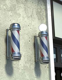 Poste de barbero con esfera luminosa